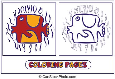 Coloring for children-fish