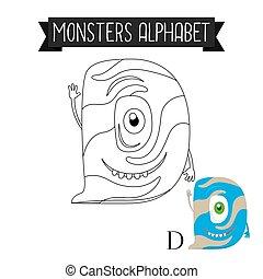Coloring page monsters alphabet letter D