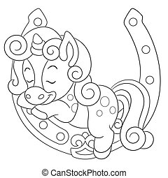 Coloring book page for kids with cute cartoon unicorn. Vector illustration.