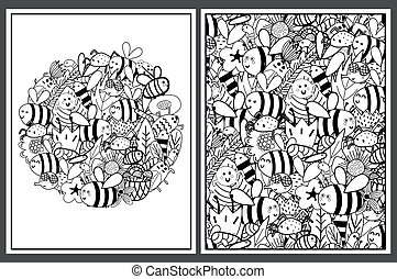 Coloring pages set with cute bees. Doodle insects templates for coloring book