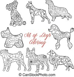 Coloring set dogs