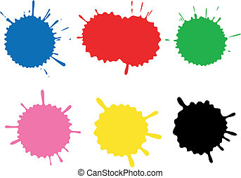 Set of blots and stains. Stains and blots are made by ink on a paper, photographed, processed in Photoshop, exported in Illustrator. Software Used: Adobe Illustrator 10.
