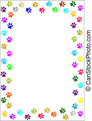 Colourful paw prints border.