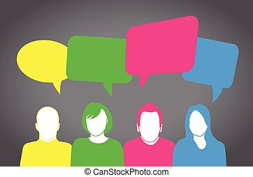 Colourful people speaking