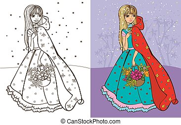 Colouring book vector illustration of beautiful girl in red raincoat hold basket of flowers