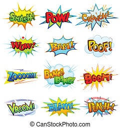 vector illustration of collection of comic book explosion