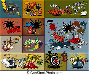 comic book explosion & expressions, isolated on light background