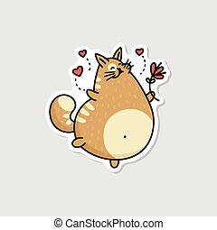Comic fat cat running with flowers sketch cartoon vector illustration isolated.