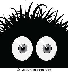 Dark, strange, comic frightened creature - vector illustration