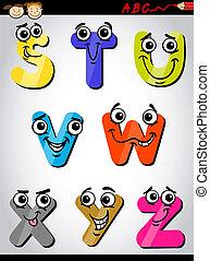 comic letters alphabet cartoon illustration
