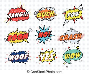 Comic sound speech effect bubbles set isolated on white background vector illustration. Wow, pow, bang, ouch, crash, woof, no,yes lettering.