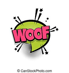 WOOF dog, wolf lettering. Comics book balloon. Bubble icon speech phrase. Cartoon font label tag expression. Comic text sound effects. Sounds vector illustration.
