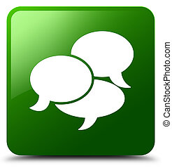 Comments icon isolated on green square button abstract illustration