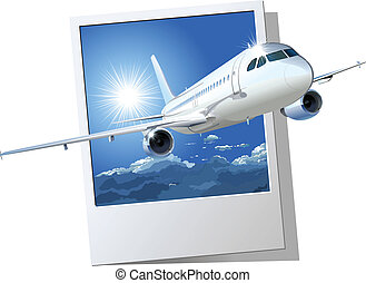 commercial airplane. Available EPS-8 vector format separated by groups and layers for easy edit