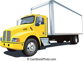 Vector isolated commercial truck on white background, without gradients and transparency