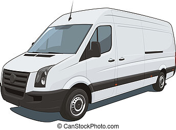Vector isolated commercial van on white background, without gradients and transparency EPS8 format.