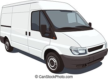 Vector isolated commercial van on white background, without gradients and transparency