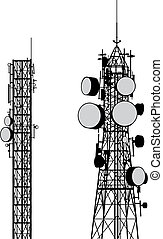 Vector silhouettes of two communication towers isolated on white.