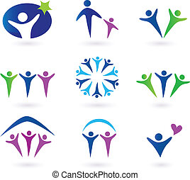 Community, network and social icon set. Collection of 9 design elements inspired by people, family, love and togetherness. Perfect use for websites, magazines and brochures.