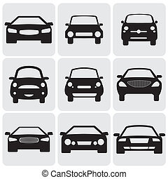 compact and luxury passenger car icons(signs) front view- vector graphic. This illustration represents nine symbols of car's front side in black color against white background