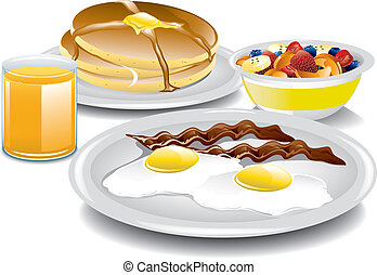 Illustration of a complete and healthy breakfast.