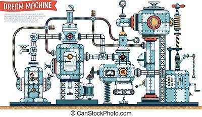 Complex fantastic steampunk machine - color version with shadows. Vector illustration. Brush for shadows included.