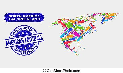 Component North America and Greenland Map and Scratched American Football Stamps