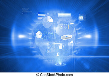 Composite image of data technology background
