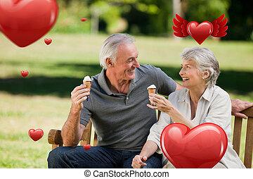 Composite image of senior couple