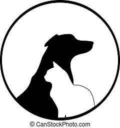 Composition of Dog and Cat Silhouettes