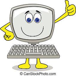 Vector illustration of funny computer cartoon