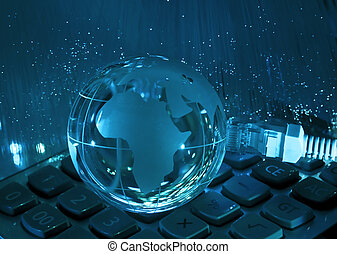 computer data concept with earth