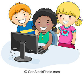 A Small Group of Kids Using a Computer