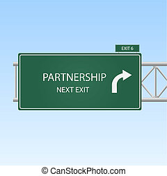 """Concept image of a highway sign with an exit to """"Partnership"""" with a blue sky background."""