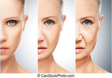 concept of aging and skin care. face of young woman and an old woman with wrinkles
