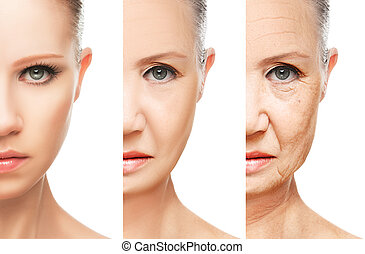 concept of aging and skin care. face of young woman and an old woman with wrinkles isolated