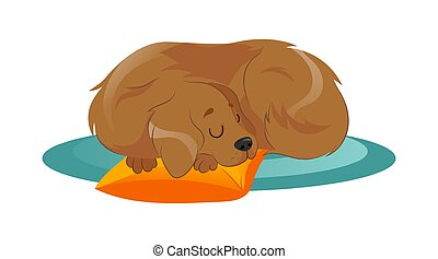 Concept Of Animal Care, Shelter. Pretty Dog Is Sleeping On The Carpet, Putting His Head On The Pillow. Animal Adoption And Support. Puppy Sleep In A Pet Bed. Cartoon Flat Style. Vector Illustration