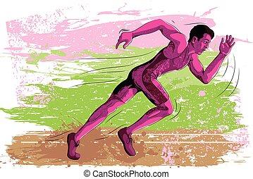 Concept of Athlete sportsman running
