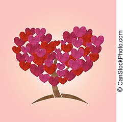 Concept of tree with heart leaves for Valentines Day