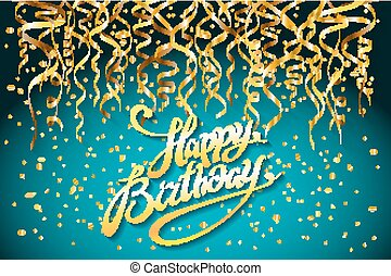concept party on blue background top view happy birthday gold confetti vector - modern flat design style