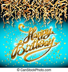 concept party on blue dark background top view happy birthday gold confetti vector - modern flat design style