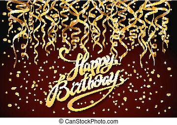 concept party on dark background top view happy birthday gold confetti vector - modern flat design style
