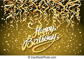 concept party on gold background top view happy birthday gold confetti vector - modern flat design style
