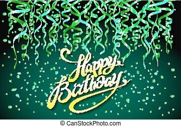 concept party on green background top view happy birthday confetti vector - modern flat design style