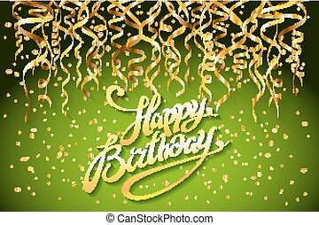 concept party on green background top view happy birthday gold confetti vector - modern flat design style