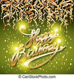 concept party on green dark background top view happy birthday gold confetti vector - modern flat design style