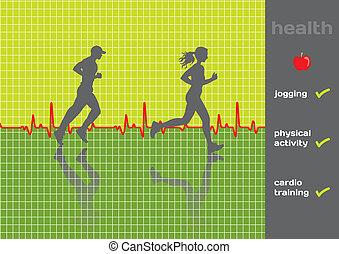 Concept: cardiogram and a physical activity exam, jogging - vector; green and gray