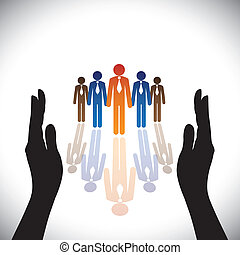 Concept- secure(protect) company corporate employees or executives with hand silhouette