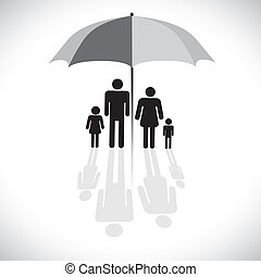 Concept vector graphic- family protection(insurance) & umbrella symbol. The graphic shows family of four(father, mother, son & daughter) with reflection in a sunshade icon.