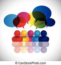 concept vector of school kids talking or office staff meeting